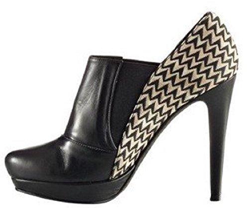 CHILLANY Stiefelette - Botas de cuero y tela para mujer negro - negro