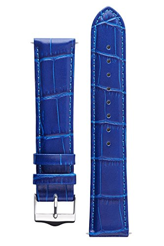 Blue Genuine Alligator Watch - Signature Tropico in dark blue 18 mm watch band. Replacement watch strap. Genuine leather. Silver Buckle