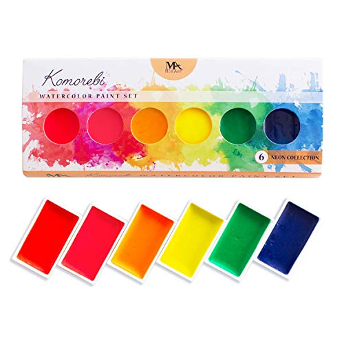 Neon Komorebi Watercolor Paint Set, with 6 Vivid Colors, Portable and Lightweight, Perfect for Artists and Hobbyists - MozArt Supplies