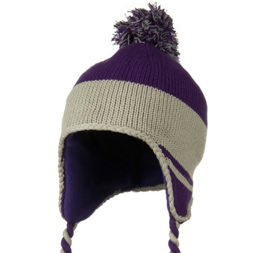Outdoor Peruvian Style Knit with Ear Flap Ski Beanie - Purple Grey OSFM