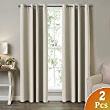 93 curtain panel grommet - 2 Panel Curtains for Bedroom Beige/Ivory Themal Insulated Grommet/Eyelet Top Curtains for Living Room/Bedroom Each Panel 52