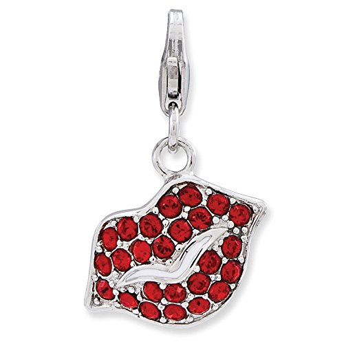 Sterling Silver Lips w//Lobster Clasp Charm