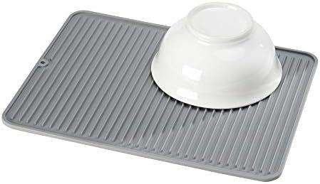 iDesign Secaplatos para fregadero escurridor de platos y vasos gris alfombrilla escurreplatos de silicona para fregadero de tama/ño grande
