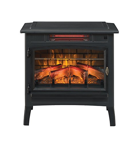 Duraflame DFI-5010-01 Infrared Quartz Fireplace Stove with 3D Flame Effect, Black Decorative Electric Heater