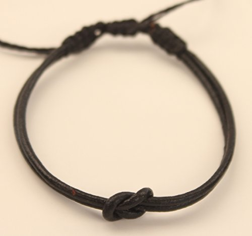 Infinity Charm Leather Bracelet | Valentine's Day | for Women and Men | Infinity Knot Style | Black Leather | Diameter: 1,5 mm | Adjustable Lenght: 13 to 16 cm. (5.5 inches) ()