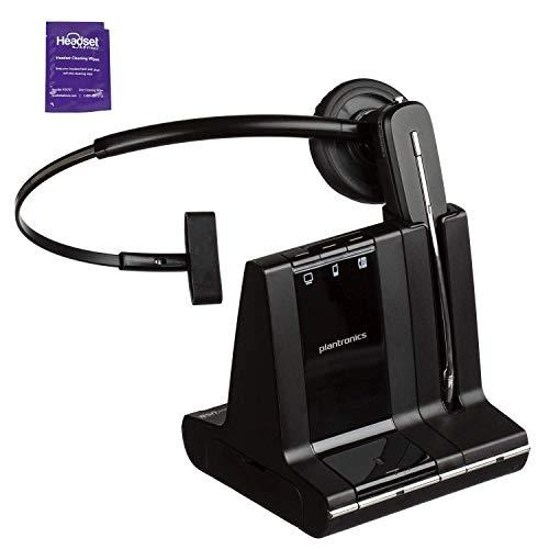 Plantronics Savi W740 Wireless Headset System Bundle with Headset Advisor Wipe (Renewed)