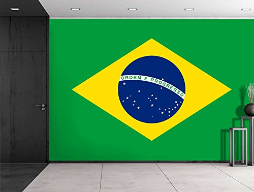 Large Wall Mural Flag of Brazil Vinyl Wallpaper Removable Decorating