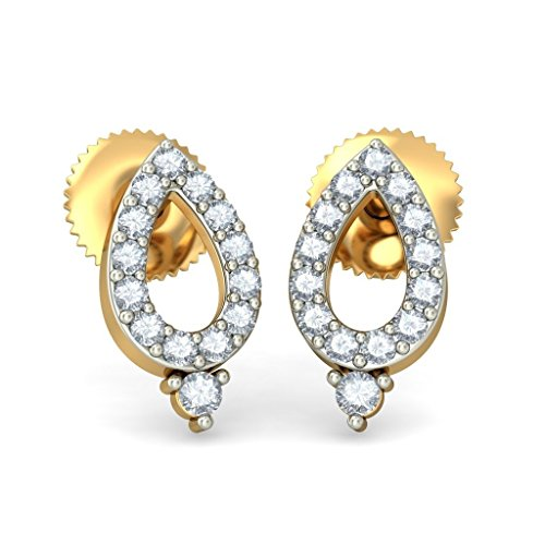 14 K Or jaune 0.09 CT TW White-diamond (IJ | SI) Boucles d'oreille à tige