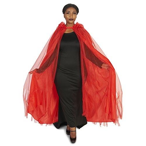ers - Hooded Lined Red Mesh Adult Plus Cape - One-Size ()