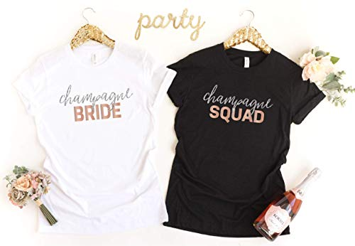 (Bachelorette Party Shirt, Custom Bride Bridesmaid Shirt, Wedding Party, Champagne Bride Champagne Squad)