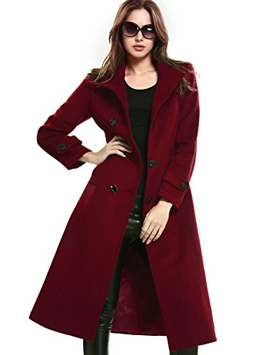 Escalier Women's Double-Breasted Trench Coat Wool Jacket with Belt Wine M