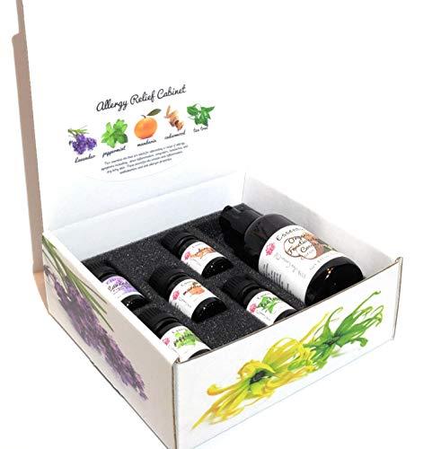 Allergy Relief Essential Oil Set (10 ml) Cedarwood, Tea Tree, Lavender, Mandarin, Peppermint (4 oz) Organic Coconut Carrier Oil, Aid sinus inflammation, congestion, headaches, itchy skin, allergen