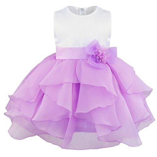TiaoBug Baby Girls Princess Ruffle Baptism Christening Tutu Gown Wedding Pageant Birthday Party Organza Dress Lavender 6-9 ()