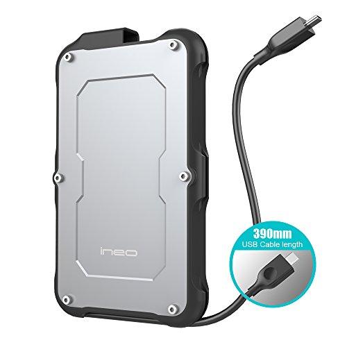 ineo 2.5 USB 3.1 Gen2 Type C Rugged Waterproof & Shockproof External Hard Drive Enclosure (USB 3.1 Gen 2 Type C) [C2580c]