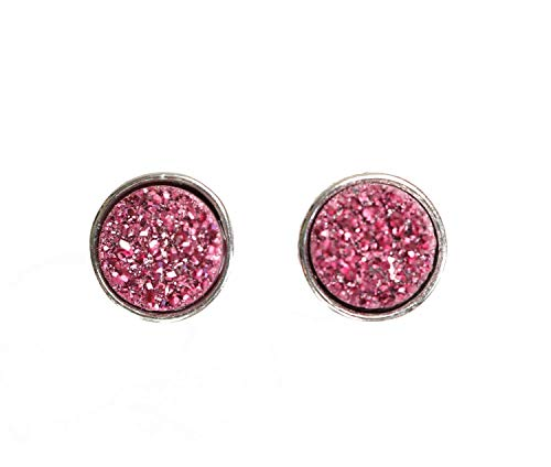 - Dark Pink Rose Druzy Stud Earring- Real Druzy Quartz Gemstone- Silver Plated Bezel- 8mm