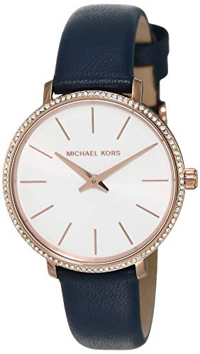 Michael Kors Women's Pyper Stainless Steel Quartz Watch with Leather Strap, Rose Gold/Blue/White, 14 (Navy Leather Watch Strap)