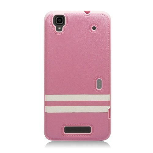 Eagle Cell Hybrid TPU PU Case for ZTE Boost Max+/Max N9520 - Retail Packaging - Pink/White (Boost Mobile N9520 Phone Case)