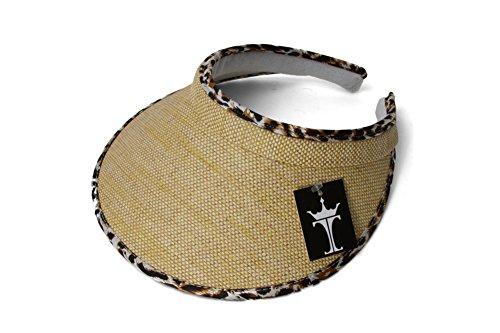 Leopard Trim Hat (TopHeadwear Straw Visor with Leopard)