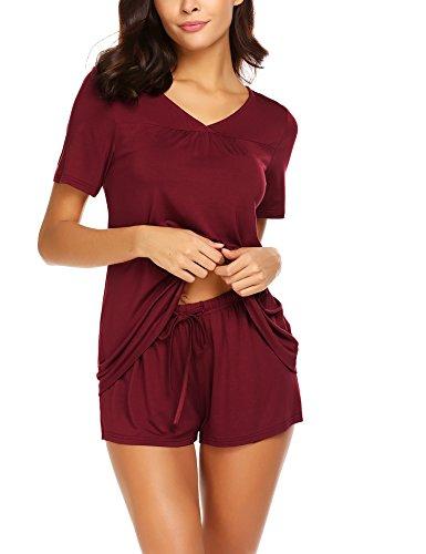 Avidlove Women's Shorts Pajama Set Short Sleeve Sleepwear Nightwear Pjs S-XXL Dark Red