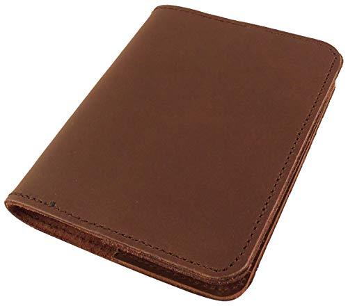 Refillable Leather Pocket Notebook - Mini Composition Cover - Fits Standard 4.5 x 3.25 Mini Composition Book (Dark Brown)