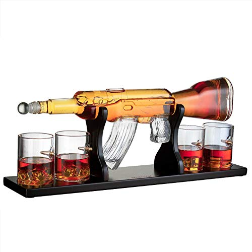 Gun Large Decanter Set Bullet Glasses - Elegant Rifle Gun Whiskey Decanter 22.5'' 1000ml With 4 Bullet Whiskey Glasses and Mohogany Wooden Base By The Wine Savant by The Wine Savant (Image #1)