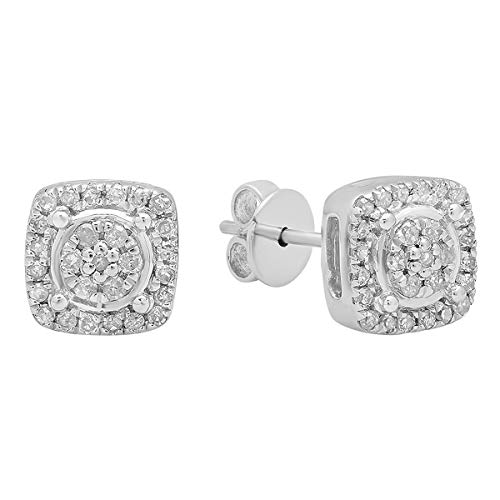 - Dazzlingrock Collection 0.20 Carat (ctw) Round White Diamond Ladies Cluster Style Stud Earrings 1/5 CT, Sterling Silver