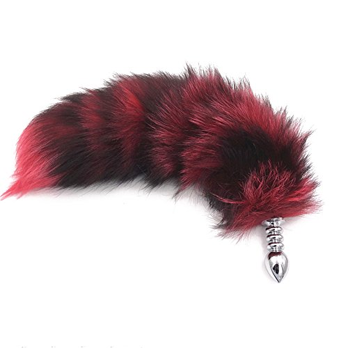 Joycentre Red Faux Fox Tail Stainless Steel Fun Plug Romance Games Play Party Toy Love Gift for High Happy,Style 2 (S)