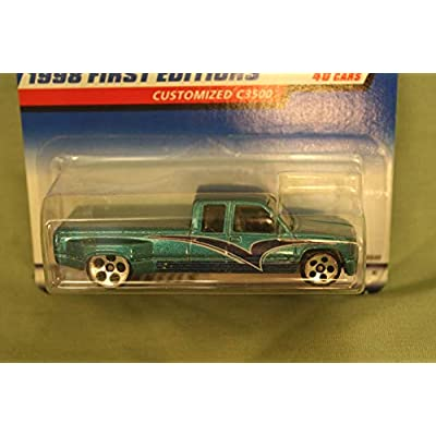 Hot Wheels - 1998 First Editions - Customized C3500 - Chevy Pickup - Die Cast - Green - #26 of 40 - Collector #663 - Limited Edition - Collectible 1:64 Scale: Toys & Games
