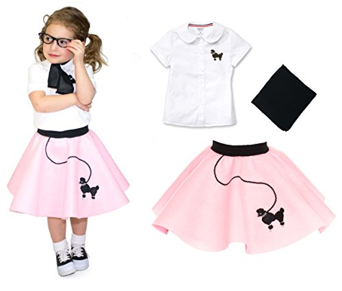 Baby 50s Costumes (Toddler 3 Piece Poodle Skirt Costume Set Light Pink 2T)