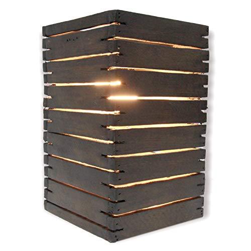 Brown Wide Slat - FAI Wood Handmade Natural Slat Table Lamp, 10.5 Inch (Oak-Stain Brown, 10.5 Inch)