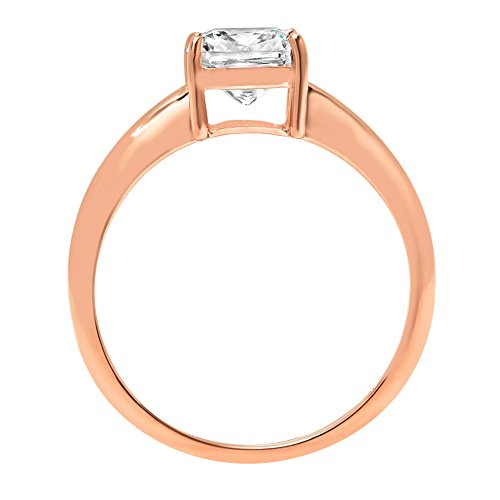 Cushion Brilliant Cut Classic Solitaire Designer Wedding Bridal Statement Anniversary Engagement Promise Ring Solid 14k Rose Gold, 1.7ct, 7.5 by Clara Pucci (Image #1)