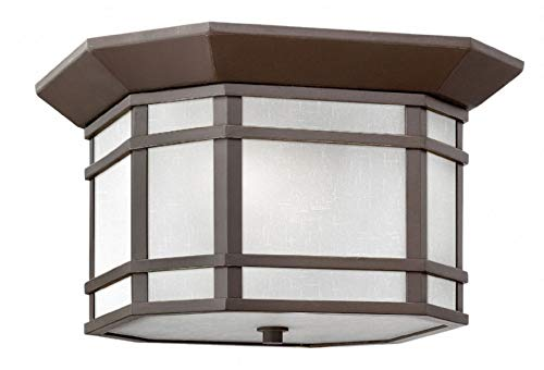 - Hinkley 1273OZ-WH Cherry Creek Outdoor Flush Mount, 2-Light 120 Total Watts, Oil Rubbed Bronze