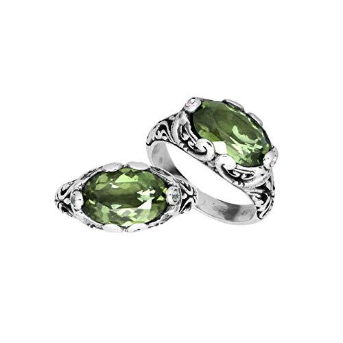 Sterling Silver Oval Shape Ring with Green Amethyst Quartz AR-6194-GAM-7''