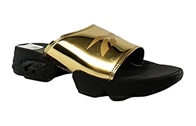 29e6f70b8 Image Unavailable. Image not available for. Color  Reebok Womens Gold  Metallic Black White Slides ...