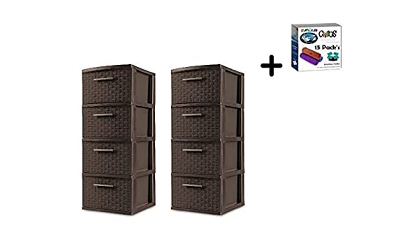 2 Pack 3 Drawer Storage Organizer Sterilite Weave Cabinet Box Container Drawers