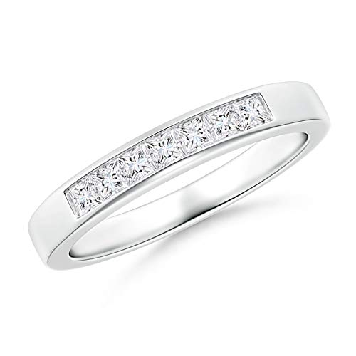 Channel-Set Princess Diamond Seven Stone Wedding Band in Platinum (2mm Diamond)