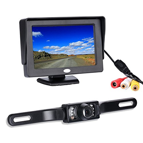 Backup Camera and Monitor Kit, Chuanganzhuo License Plate CMOS Wide Angle Back up Camera with 7 LED Night Vision+ 4.3 TFT LCD Monitor
