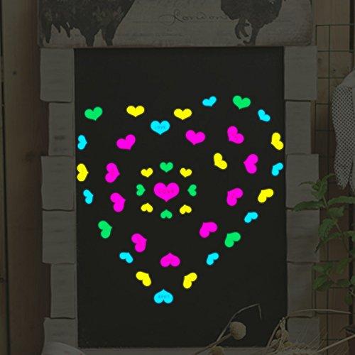 DaLin Ultra Bright Colorful Peach Heart Glow In The Dark Luminous Fluorescent PVC Wall Stickers, Small, Sheet Size 10cm*20cm