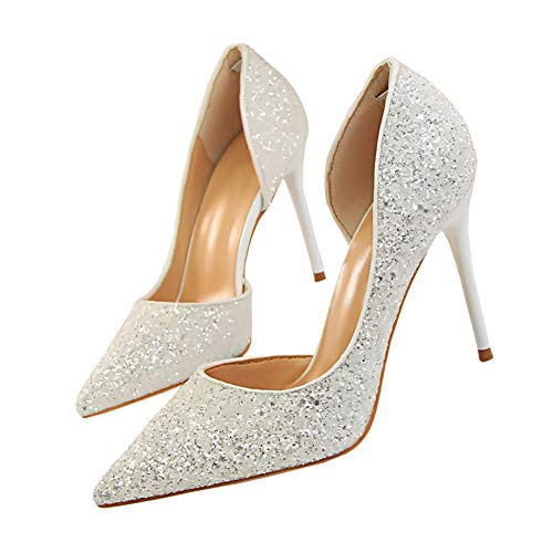 Pointed High Heel Shoes Fashion Dress Pumps Bridal Wedding Party Glitter Pump 3.5