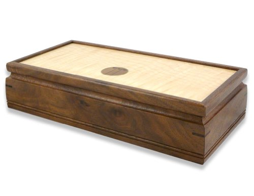 "Mikutowski Woodworking Small 11"" Handmade Wood Jewelry Box, American Walnut and Curly Maple with Craftsman-Style Inlay"