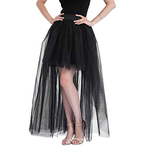 (Toimothcn Women Mesh Tulle Skirt,Solid Color Casual High Low Tu Tu Princess Bubble Party Skirt(Black,Free)