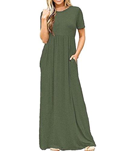 Sera Verde Coolred manicotto Solido Bicchierino Del Tasche Vestito Girocollo donne Del Esercito xH0wqxRSA