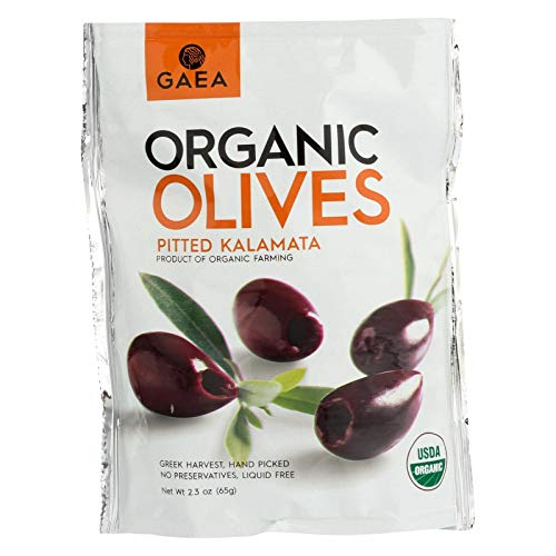 Gaea Organic Snack Pack Pitted Kalamata Olives with Sea Salt and Vinegar – 2.3 oz (Pack of 8)