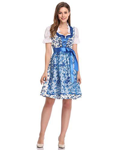 GloryStar Women's German Dirndl Dress 3 Pieces Traditional Bavarian Oktoberfest Costumes for Halloween Carnival (2XL, Blue-PPW) ()
