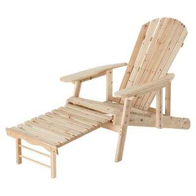 Cedar Lounge Chair - Adjustable Unfinished Cedar/Fir Adirondack Chair With Pull-Out Footrest