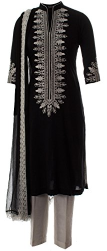 AzraJamil-Mystic-Cotton-Embroidered-Churidar-Suit-Black
