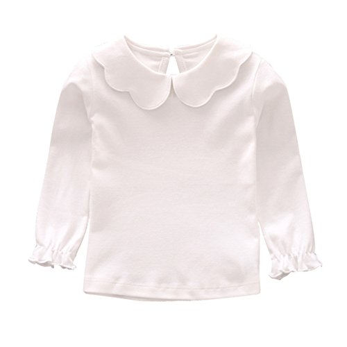 Soly Tech Kids Girls Basic Shirt Long Sleeve Solid Color Doll Collar Tops Blouse (120(5-6 Years), White 4)