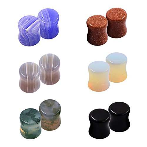D&M Jewelry 6 Pairs Kit Natural Stone Ear Plugs Tunnels (Earrings 0 Gauge)