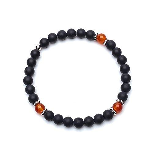 Asortis Matt Onyx Carnelian men's elastic bead bracelet 6mm (Black Matt, 7) ()