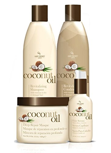 Coconut Oil Hair Care 4 Piece Set - Revitalize And Nourish Dry Or...